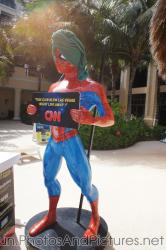 Spiderman statue with towel wrap around head at GR Solaris.jpg