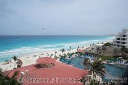 View of the Cancun hotel zone beach from GR Solaris ocean view room.jpg